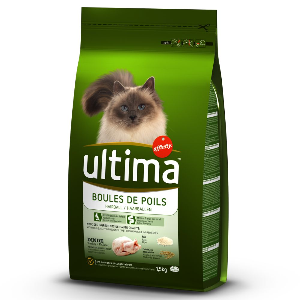 Image of Ultima Cat Hairball - Truthahn & Reis - Sparpaket: 2 x 7,5 kg