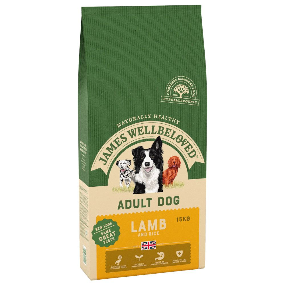 15kg Adult Lamb & Rice James Wellbeloved Dry Dog Food