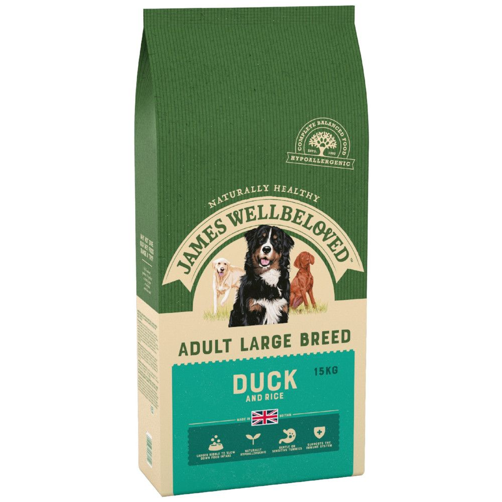 15kg Duck & Rice Large Breed Adult James Wellbeloved Dry Dog Food