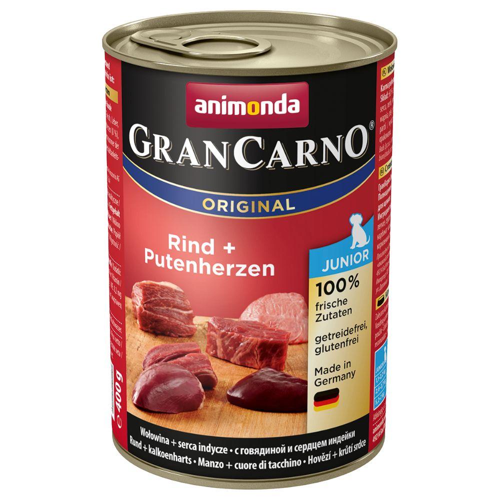 6x400g Beef & Turkey Hearts Junior Animonda Gran Carno Wet Dog Food
