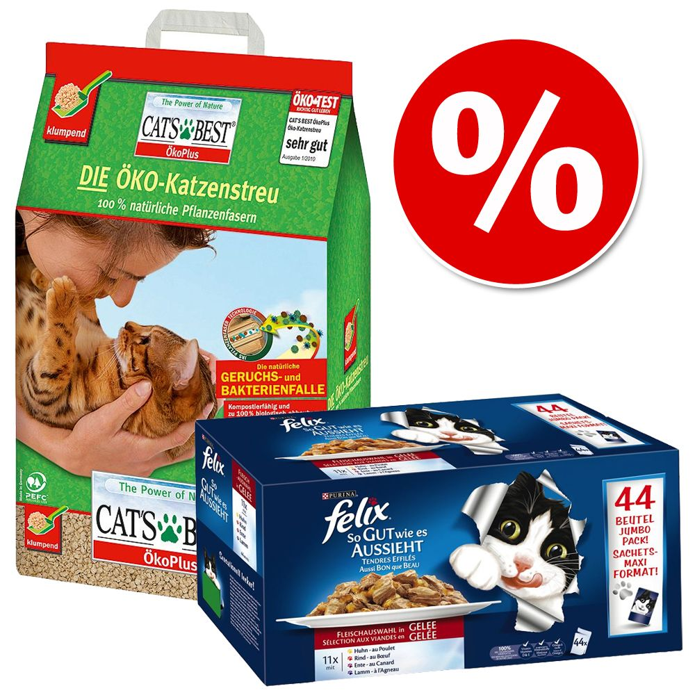 Foto Tutto in 1 click! 20 l Cat's Best + Felix Le Ghiottonerie - Cat's Best Eco Plus + 88 x 100 g Felix Le Ghiottonerie