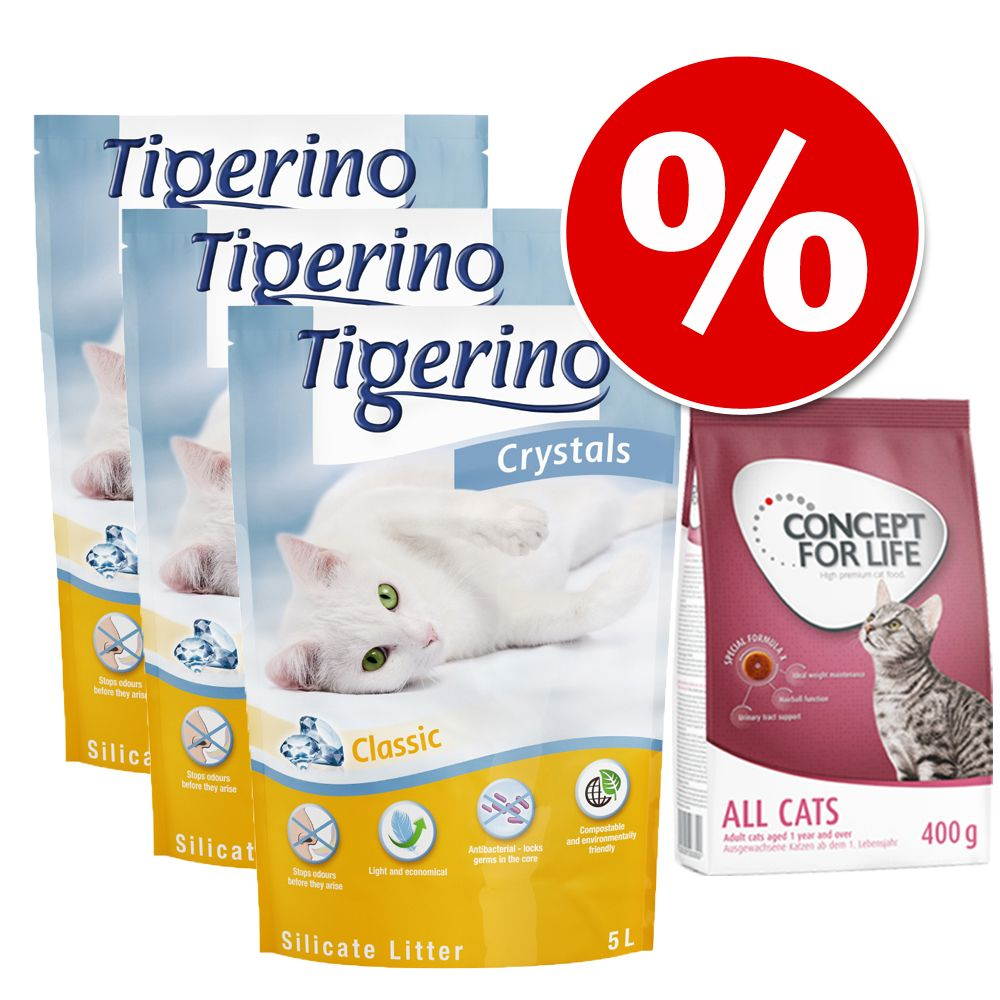 Prova nu! Tigerino Crystals kattsand 3 x 5 l & 400 g Concept for Life torrfoder till sparpris! - Maine Coon