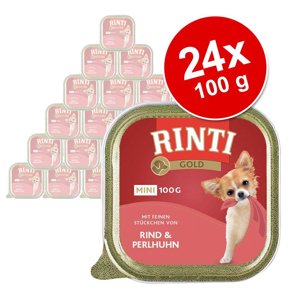 Megapakiet Rinti Gold Mini, 24 x 100 g - Wołowina z perliczką