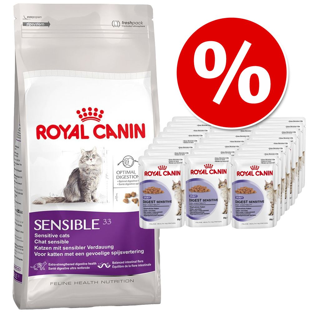 4 kg Royal Canin + 24 x 85 g Royal Canin in Soße - Exigent 35/30 + Instinctive in Soße
