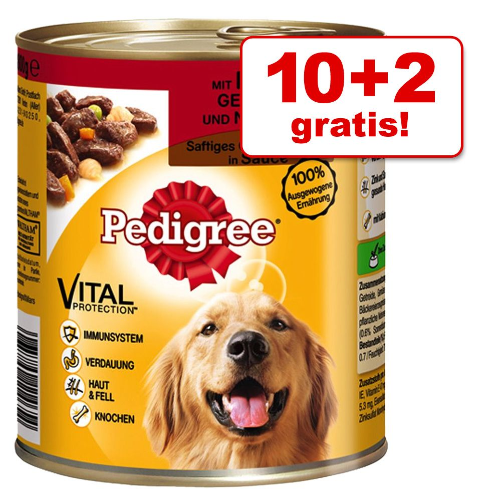 10 + 2 gratis! 12 x 800 g Pedigree Adult - Classic mit 3 Sorten Fleisch