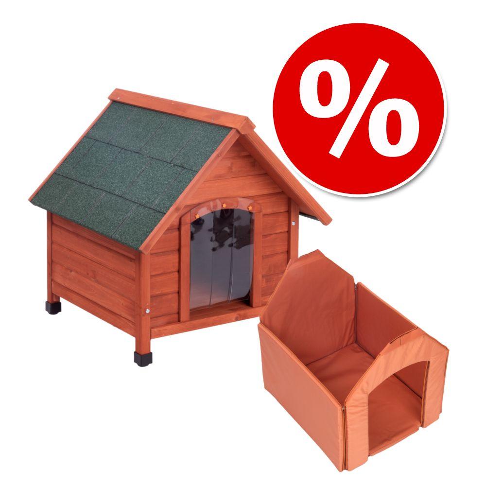 Spar-Komplettset: Hundehütte Spike Comfort mit Isolierung - Set Größe L: B 84 x T 101 x H 87 cm