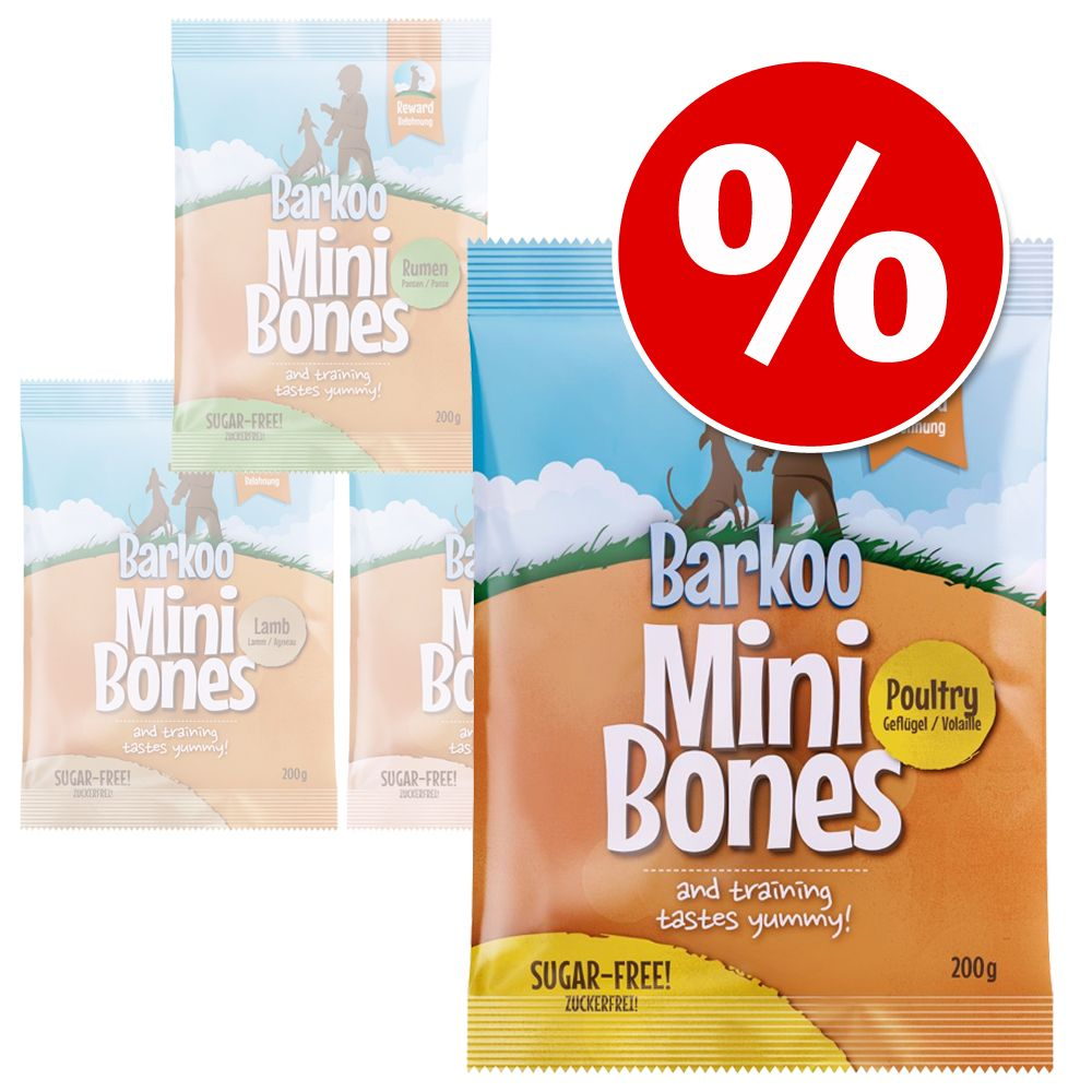 Korzystny pakiet Barkoo Mini Bones, 4 x 200 g  Łosoś, 4 x 200 g