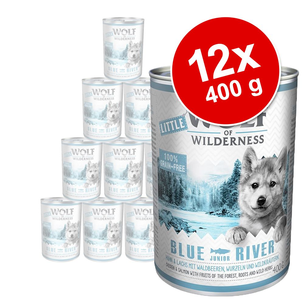 Foto Little Wolf of Wilderness Junior 12 x 400 g - Blue River Junior - Pollo & Salmone Set Risparmio
