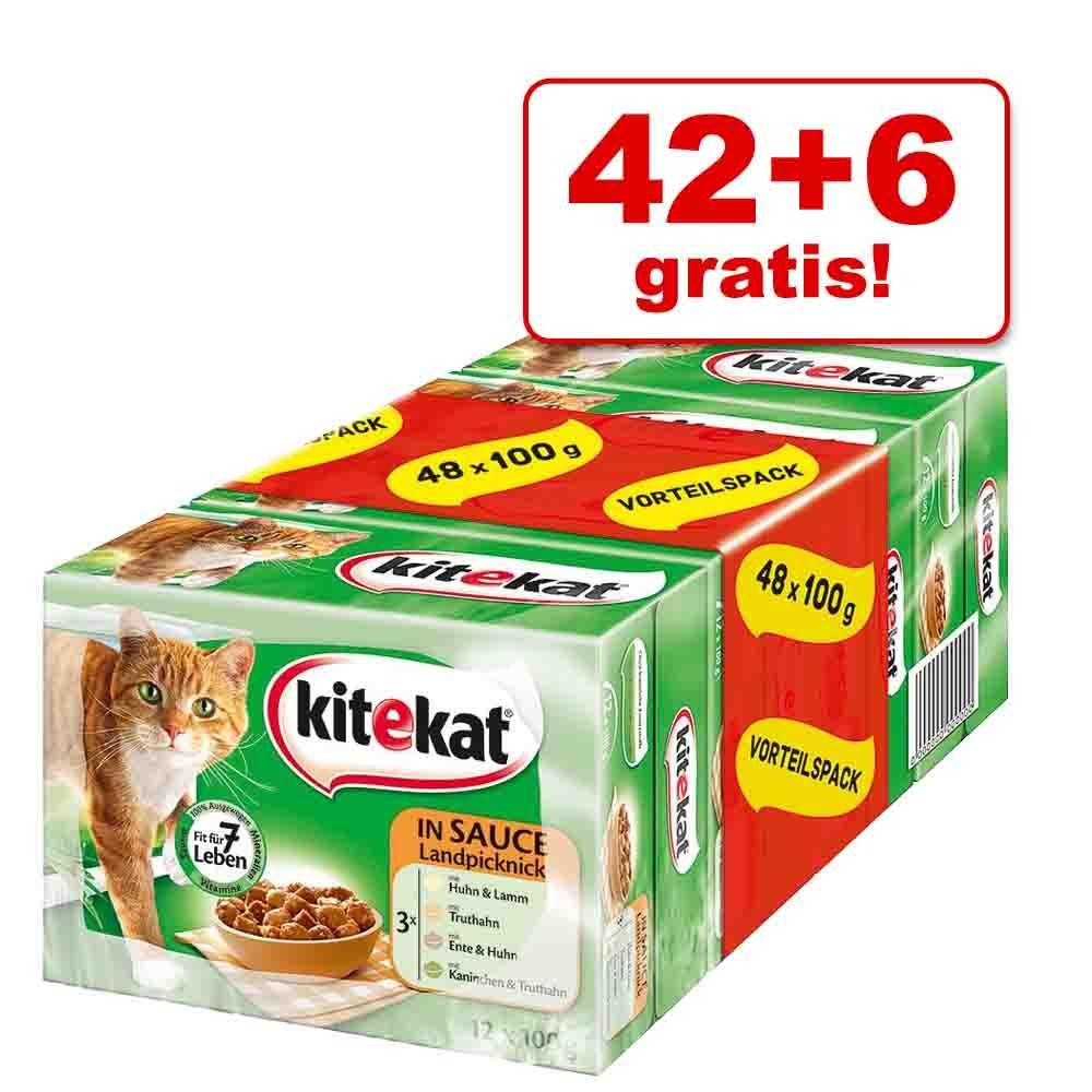 42 + 6 gratis! Kitekat saszetki w sosie, 48 x 100 g - Piknik w sosie