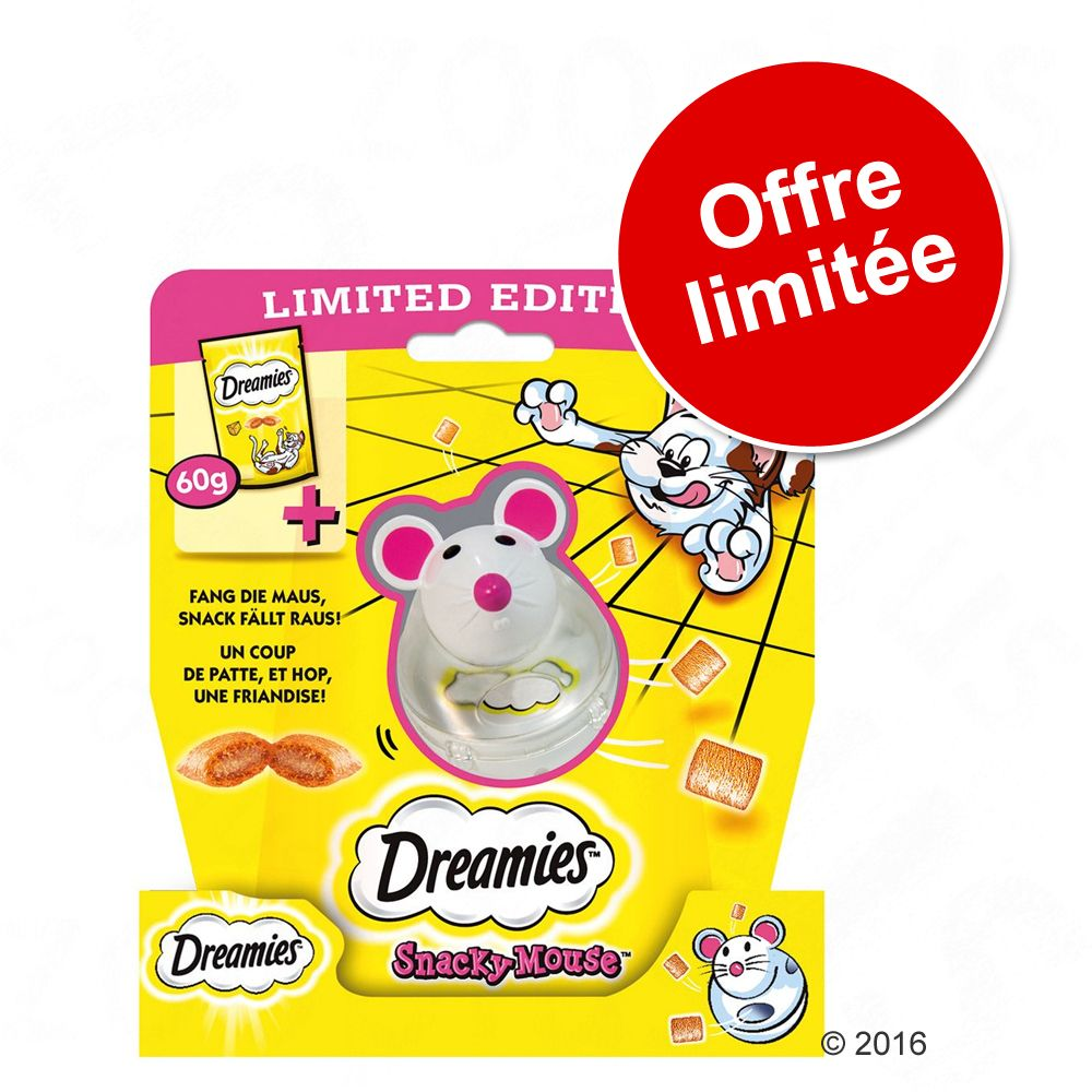 Catisfactions (Dreamies) fromage 60 g + jouet Snacky Mouse à prix spécial ! - fromage 60 g + jouet Snacky Mouse