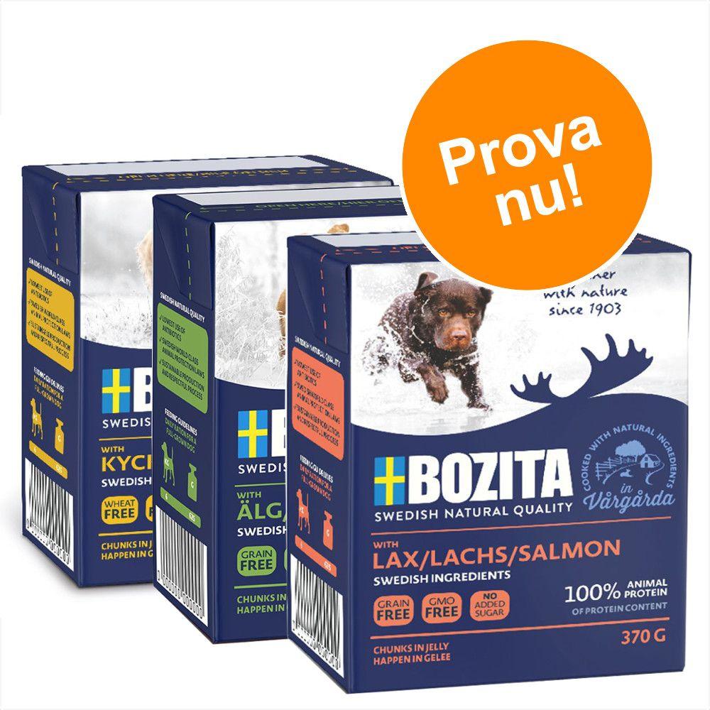 Blandat provpack: 9 x 370 g Bozita Chunks in Jelly - Blandpack: Kyckling & ris, Lax, Älg