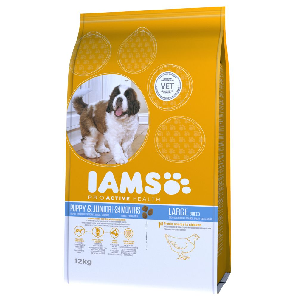 Foto Iams Proactive Health Puppy & Junior Large Ricco di Pollo - 12 kg Iams Puppy