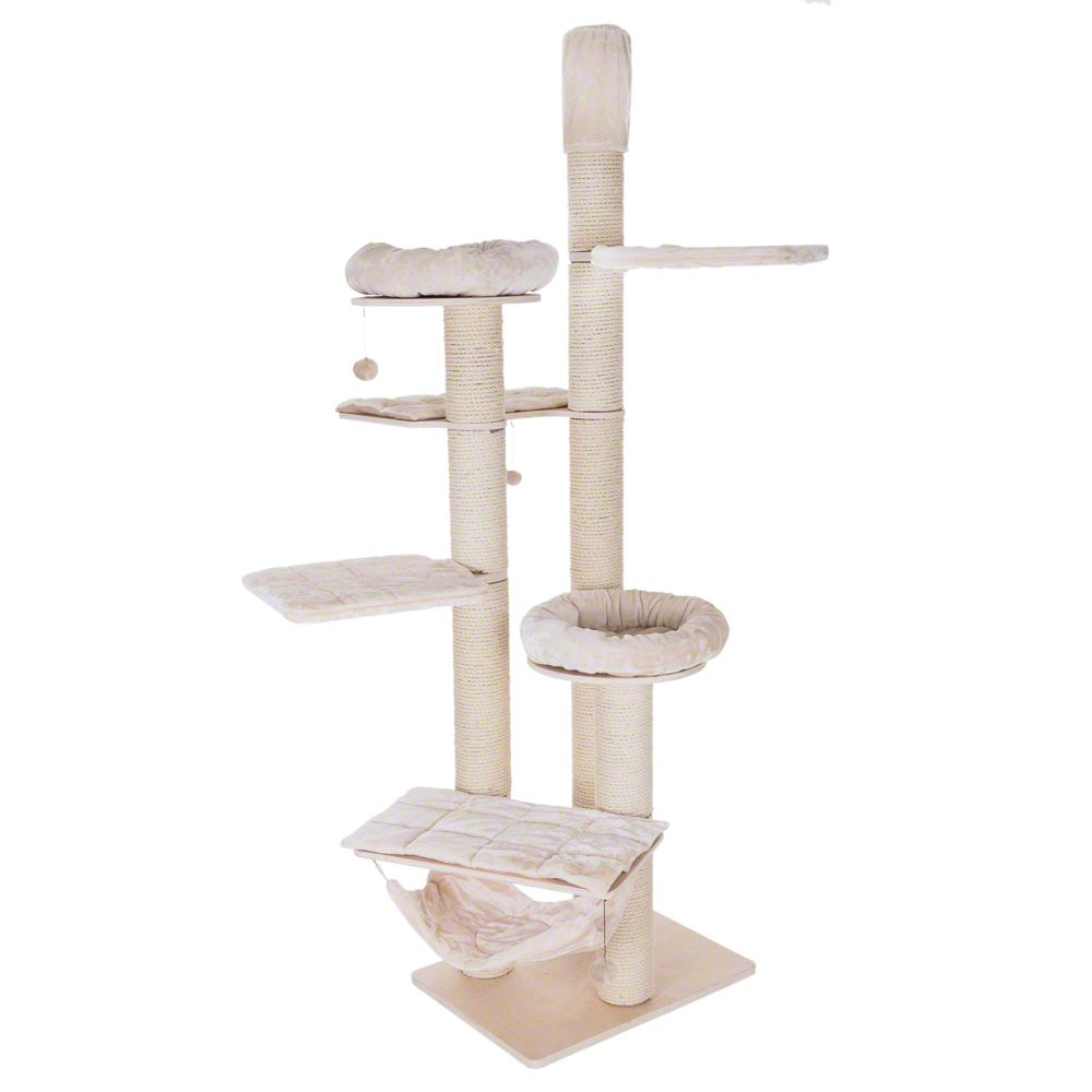 The Natural Paradise Cat Tree XXL is perfect for the cat which likes heights. The cat tree is very well made and extremely robust. The 15cm thick posts are long en...