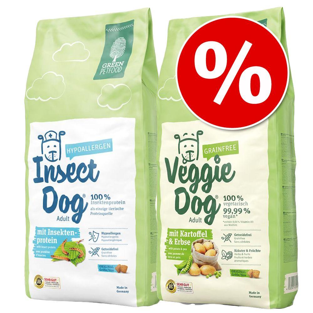 Blandpack: 2 sorters Green Petfood hundfoder – Grainfree + Insectdog (2 x 2 kg)