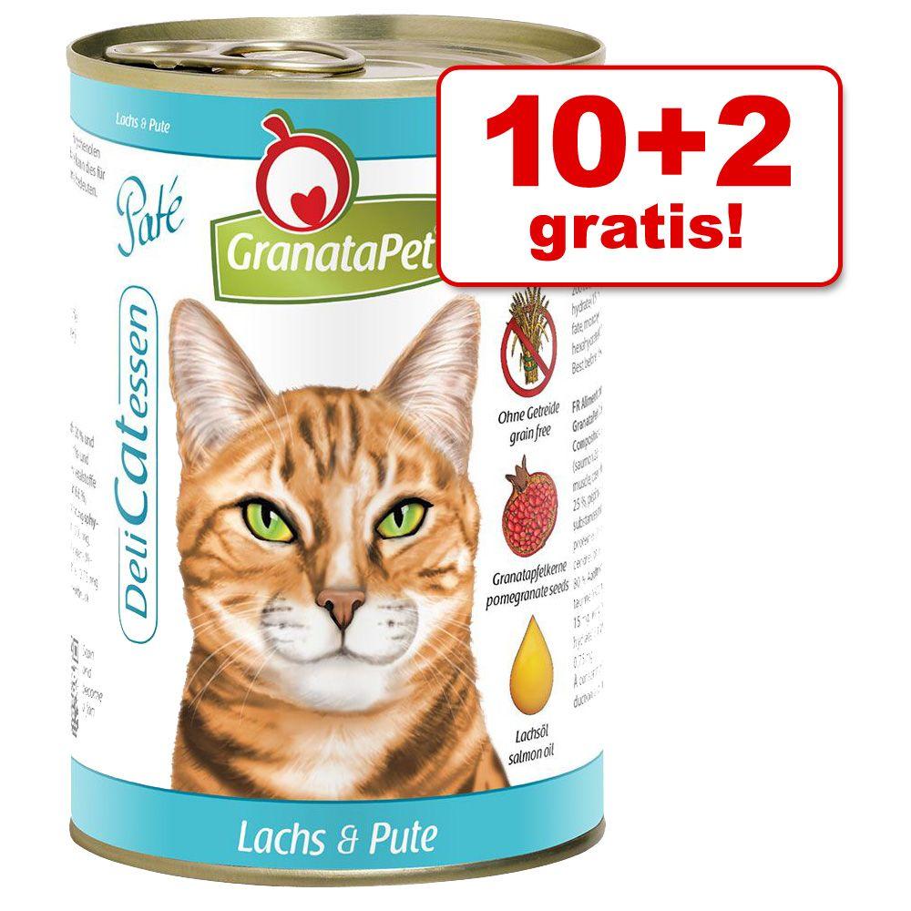 10 + 2 gratis! GranataPet DeliCatessen, 12 x 400 g - Łosoś z indykiem