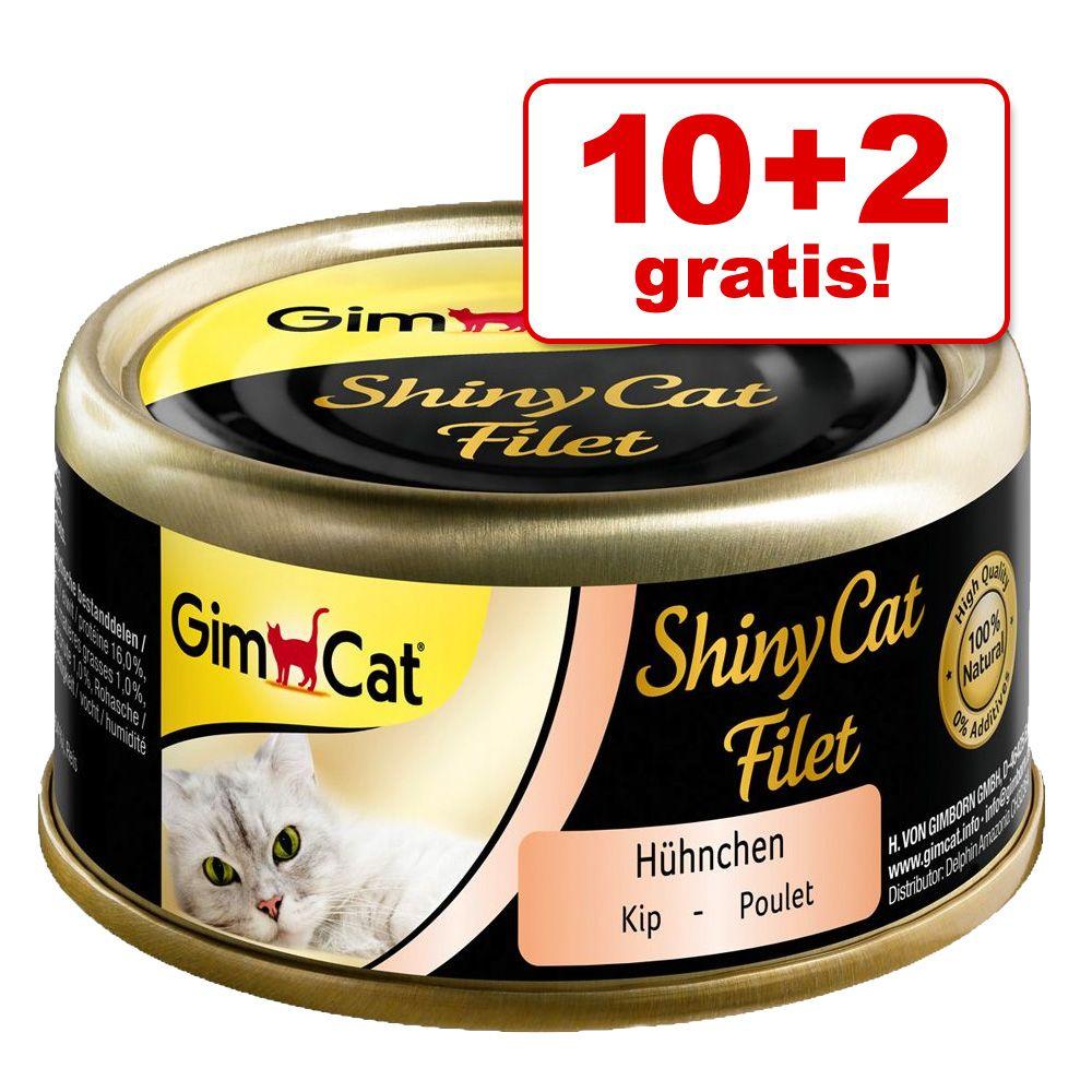 10 + 2 gratis! GimCat ShinyCat, w bulionie 12 x 70 g - Tuńczyk