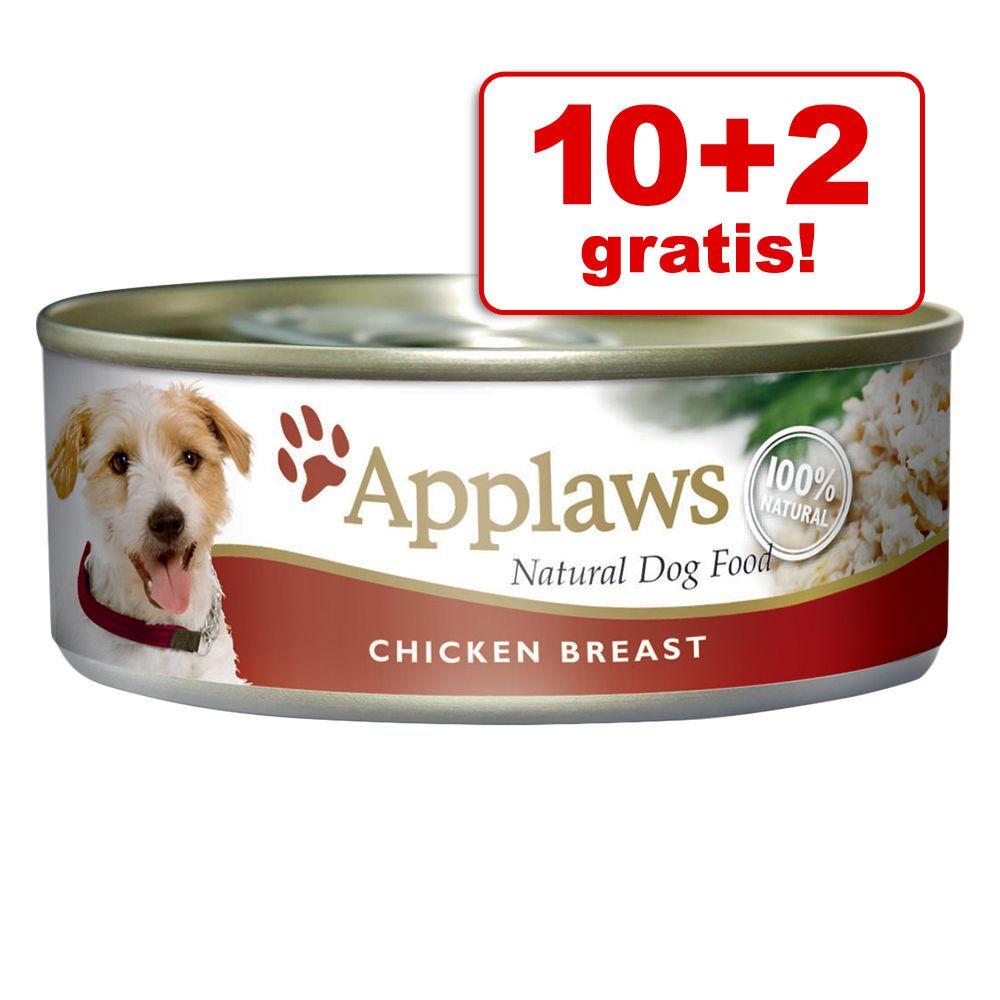 10 + 2 gratis! Applaws w bulionie, 12 x 156 g - Kurczak z szynką i warzywami