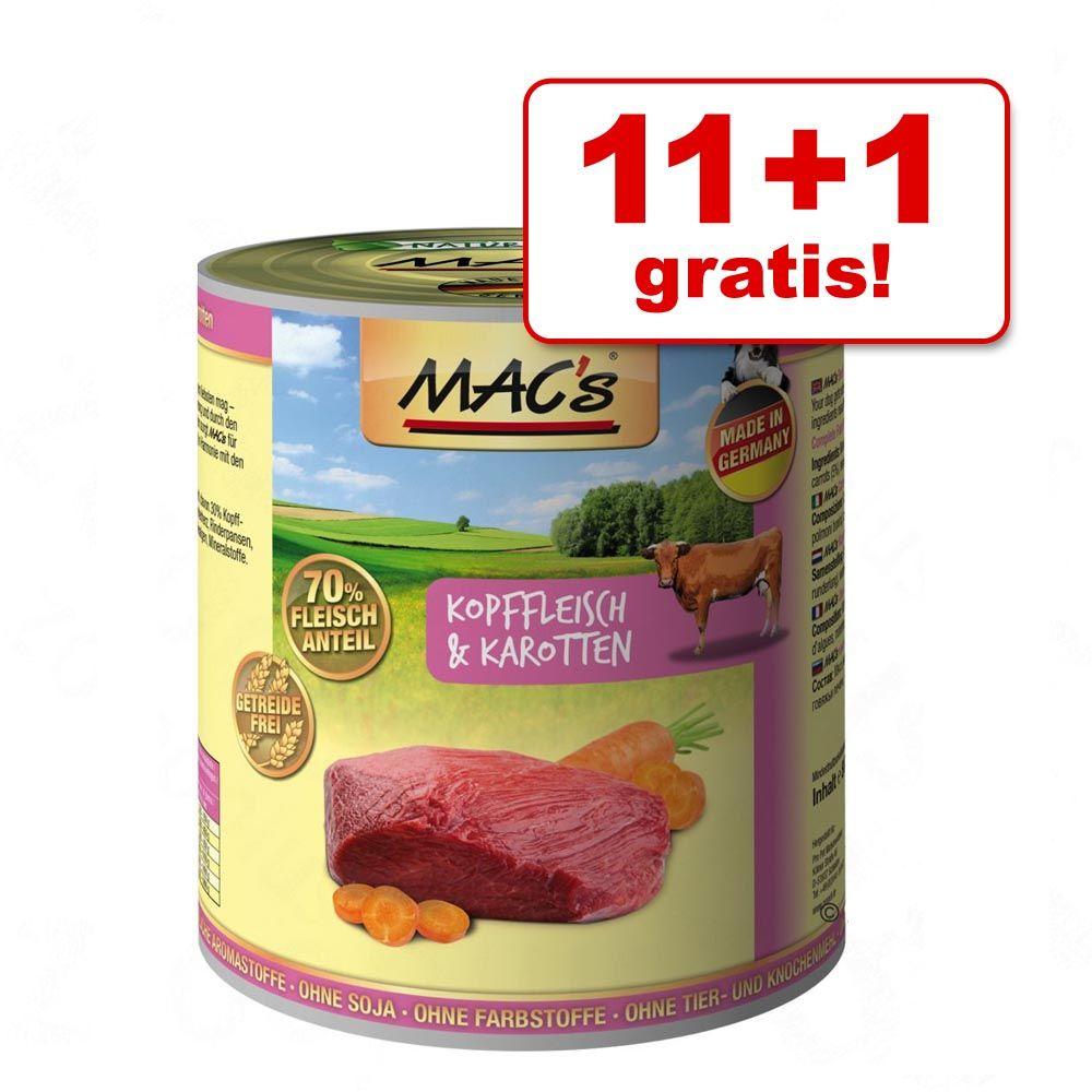11 + 1 gratis! MAC's Adult, 12 x 800 g - Jagnięcina i kaczka