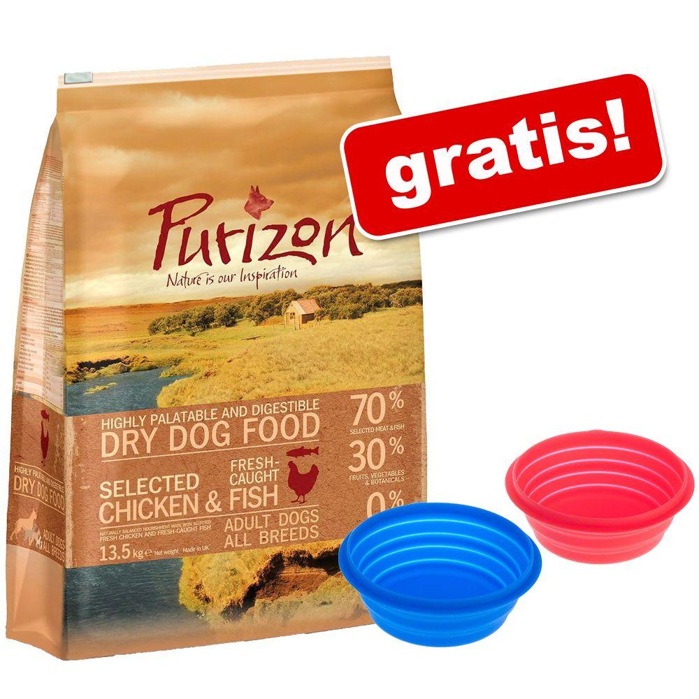 12 kg Purizon Adult karma dla psa + Silikonowa miska podróżna gratis! - Adult, dziczyzna i królik