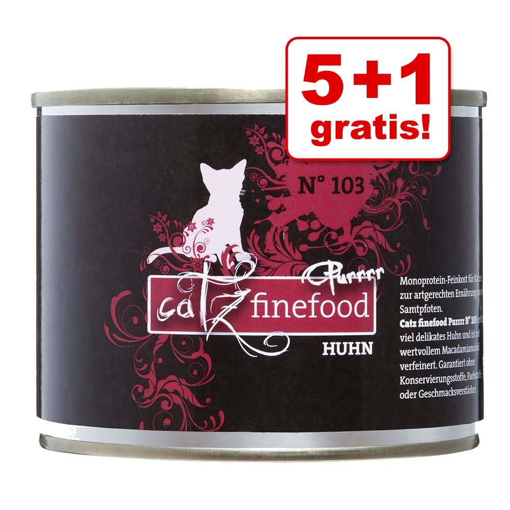 5 + 1 gratis! 6 x 200/190 g catz finefood Purrr...