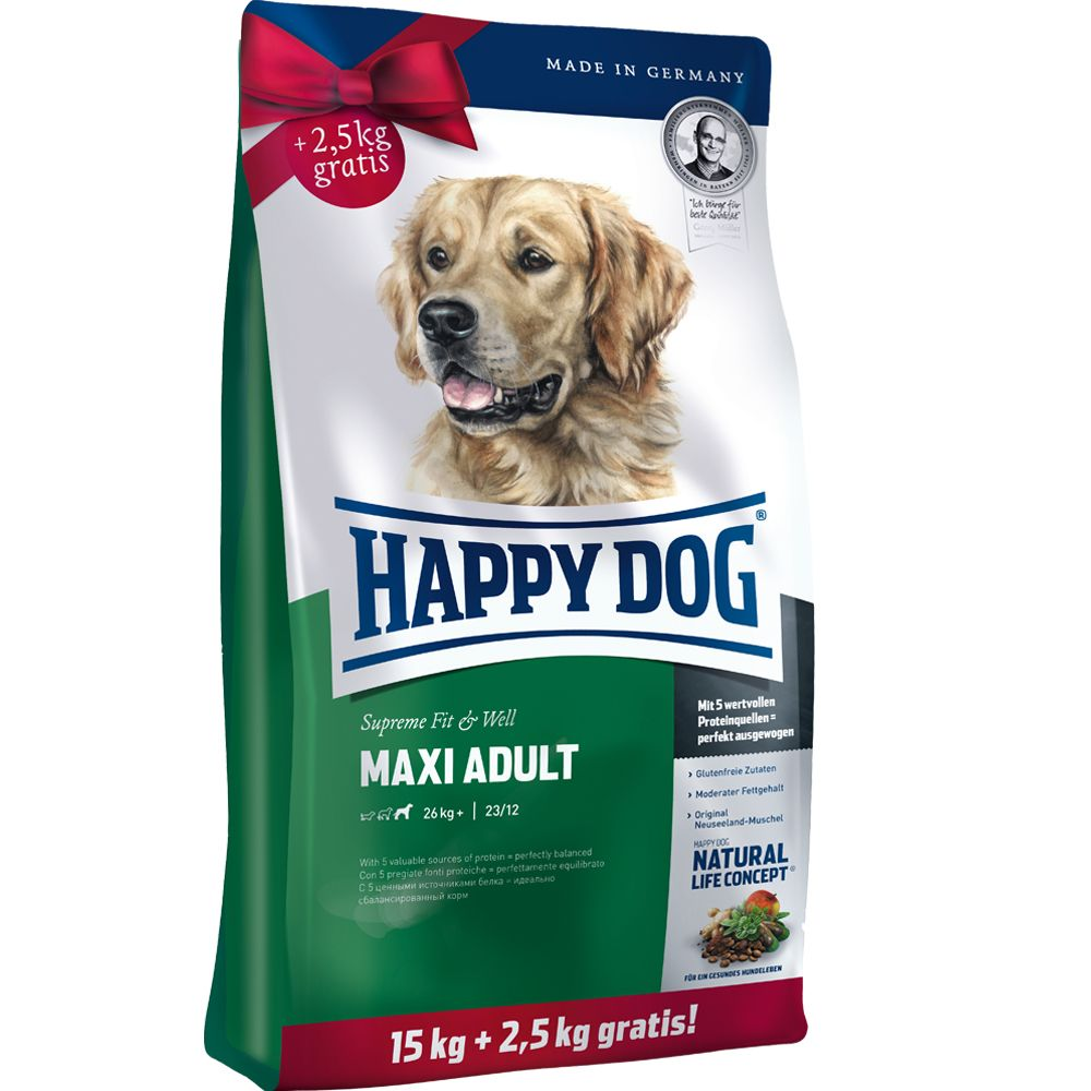 Large Bags Happy Dog Supreme Fit Well Dry Dog Food + 2kg/2.5kg Extra Free