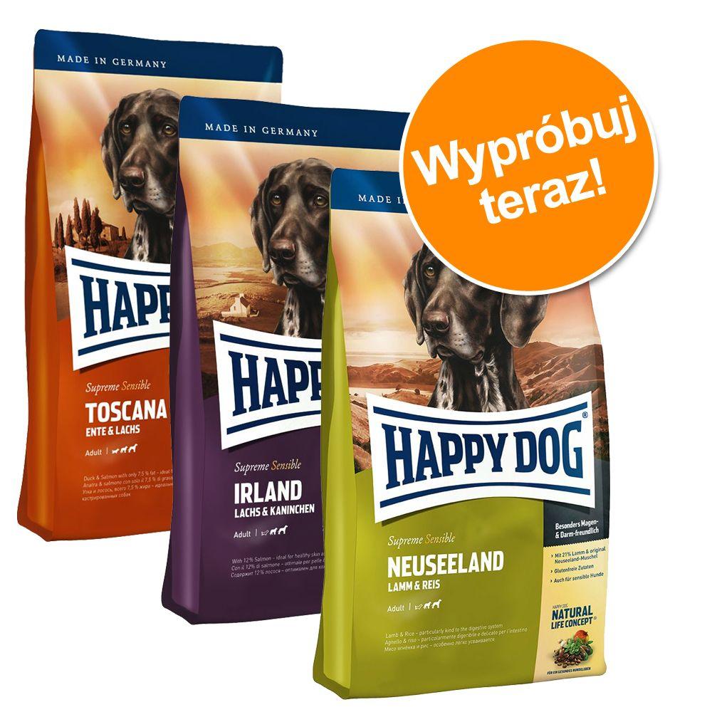 Pakiet mieszany Happy Dog Supreme Sensible, 3 x 4 kg - Irlandia + Afryka + Kanada