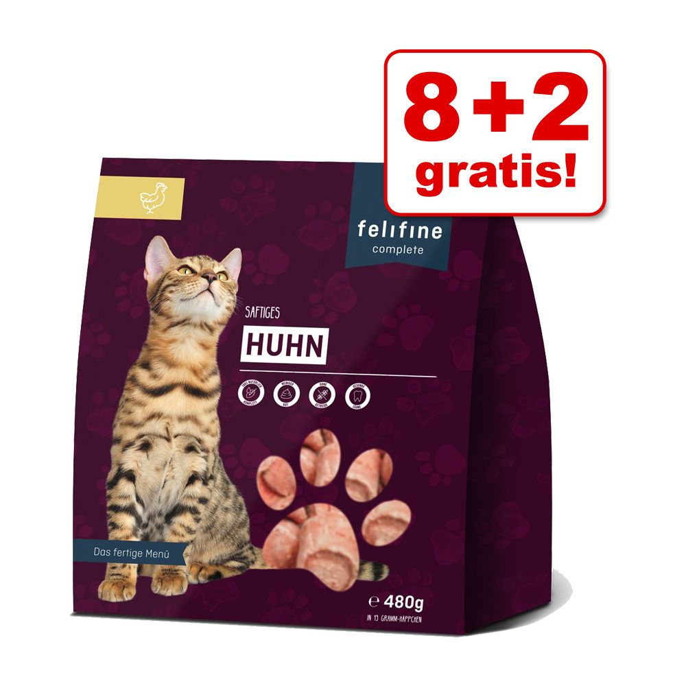 8 + 2 gratis! Felifine Nuggets, 10 x 480 g - Kaczka