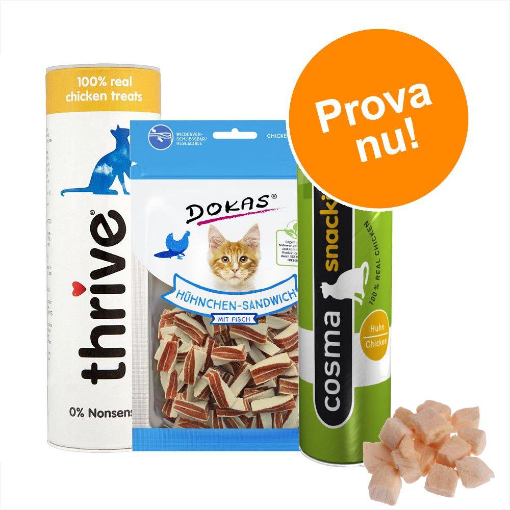 Blandpack med torkade kattsnacks - 3 sorter torkat kycklingsnack