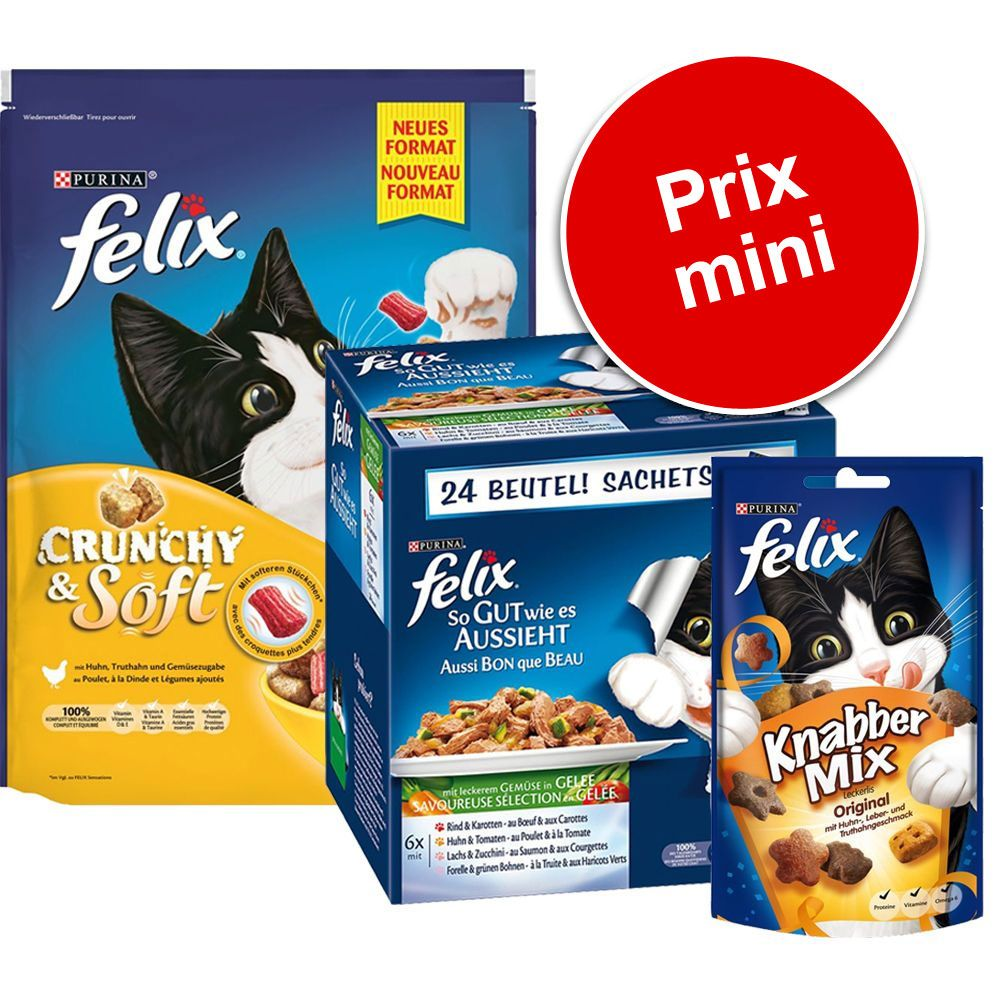 Lot mixte Felix Tendres Effilés en gelée pour chat - lot mixte poisson