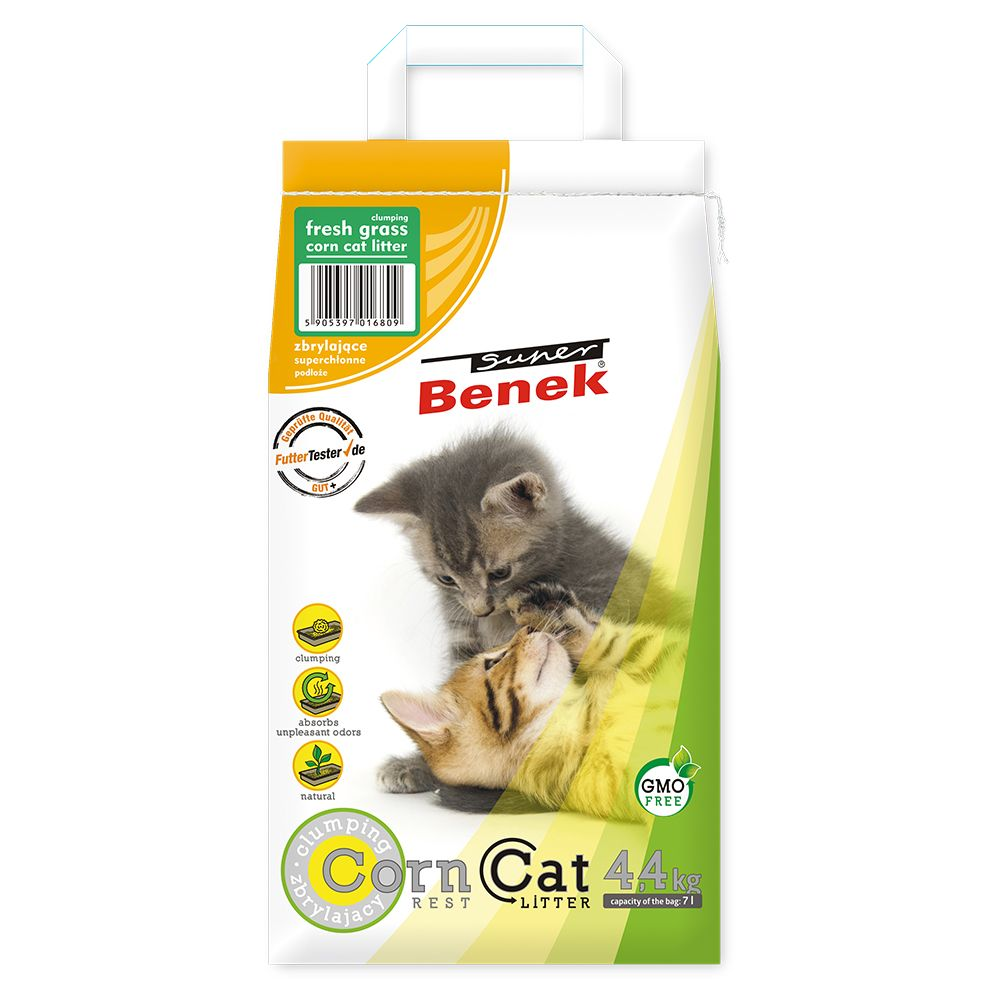 3x7L (13,2 kg) Litière Super Benek Corn Cat herbe fraîche