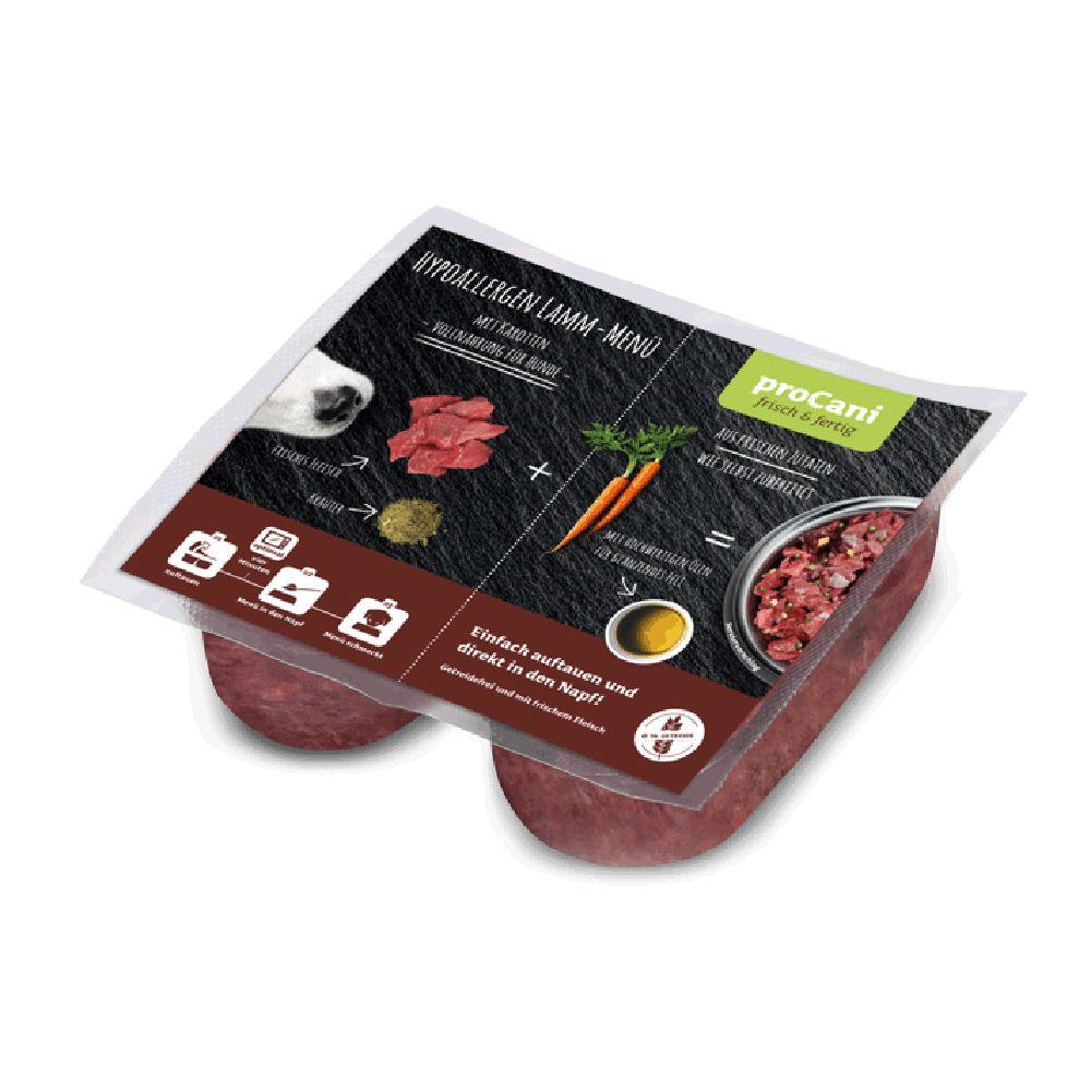 proCani BARF Hypoallergen Lamm Menü mit Karotten - 20 x 2 x 200 g