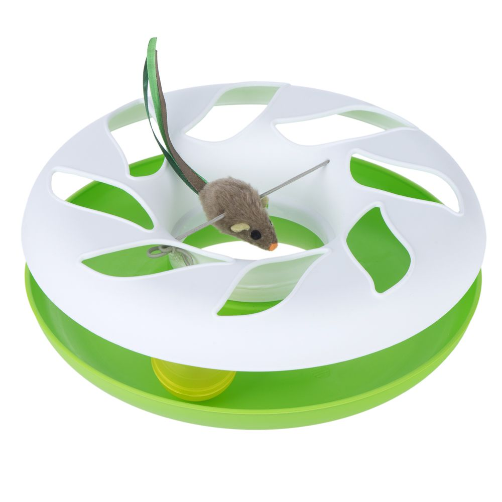 Roundabout Cat Toy - 1 Toy (White/Green)