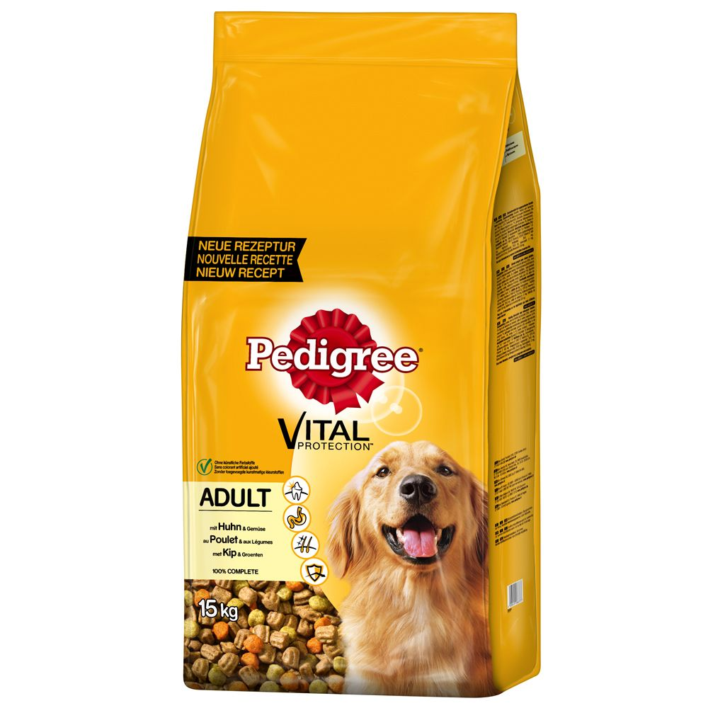 12kg Pedigree Dry Dog Food + 3kg Free!* - Adult Complete - Vital Protection Chicken (15kg)