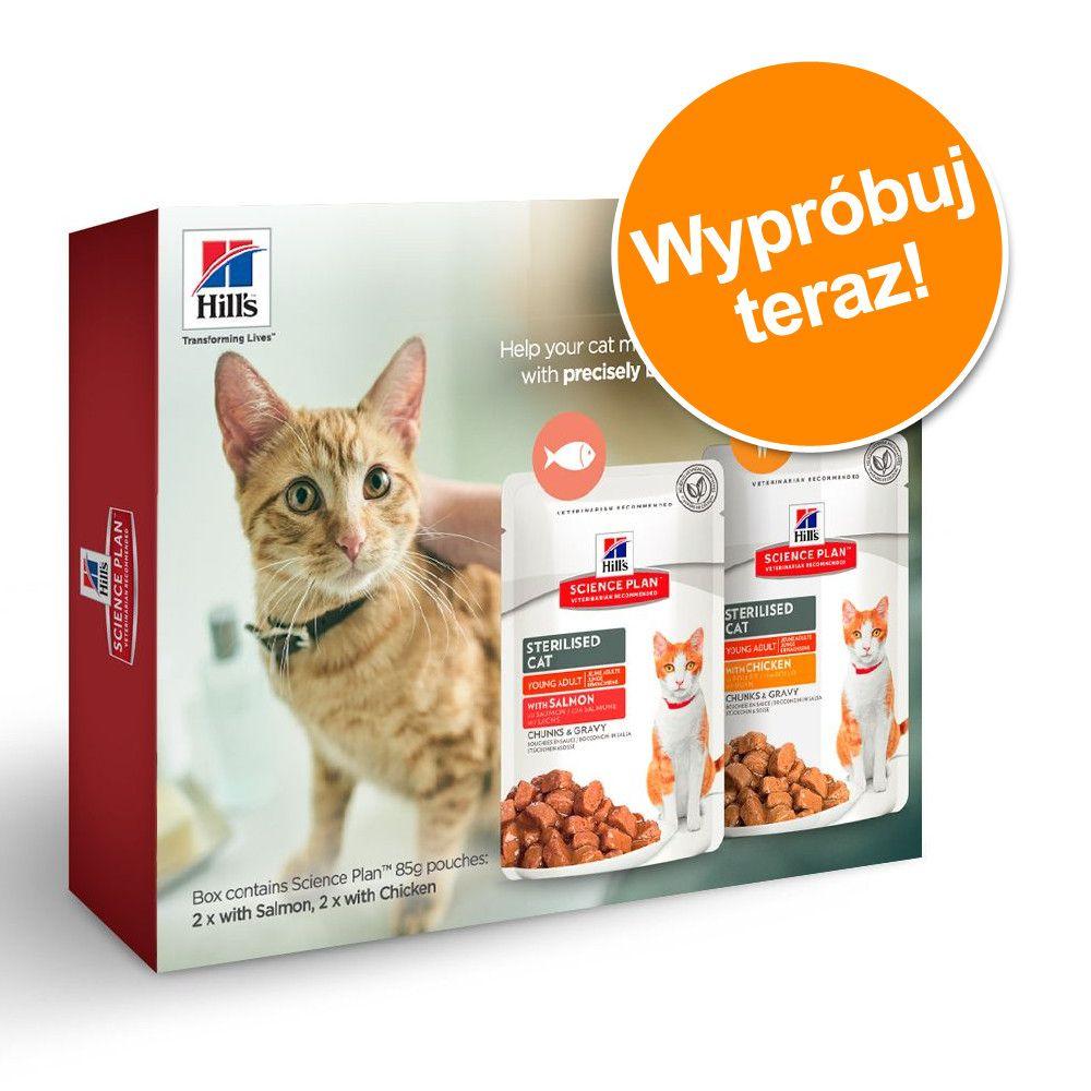 Pakiet próbny Hill's Feline Young Adult Sterilised, 4 x 85 g - 4 x 85 g łosoś i kurczak