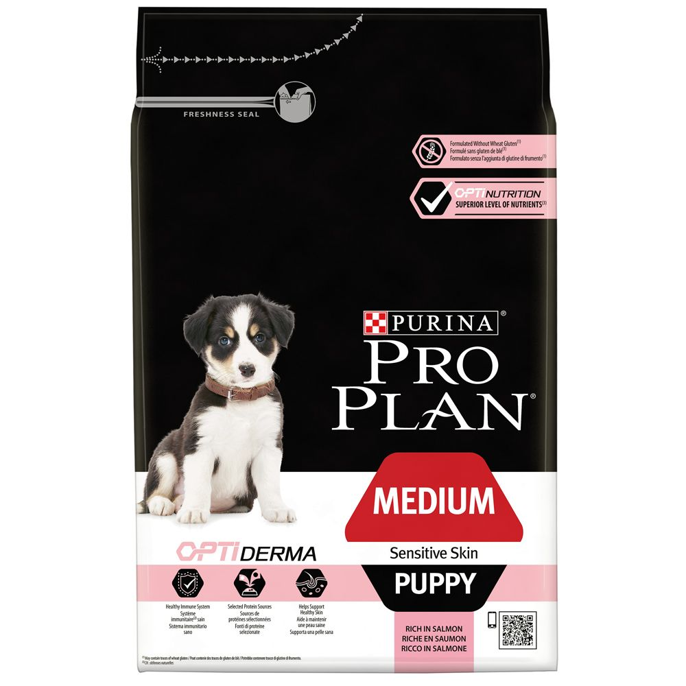 Pro Plan Puppy Medium Sensitive Skin OptiDerma Salmon - Economy Pack: 2 x 12kg