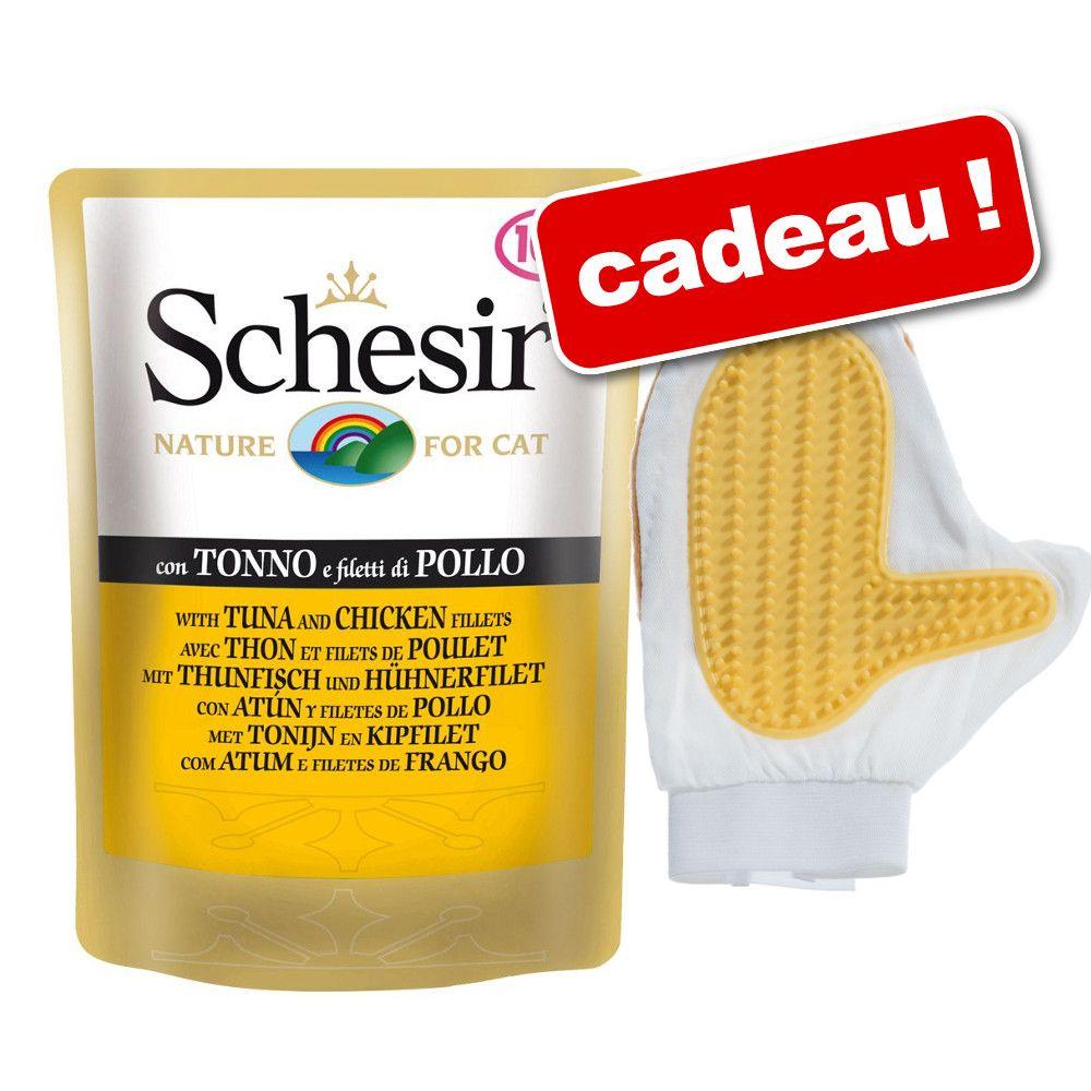 Schesir 24 x 100 g + gant de brossage offert ! - thon, poulet & crevette (24 x 100 g)