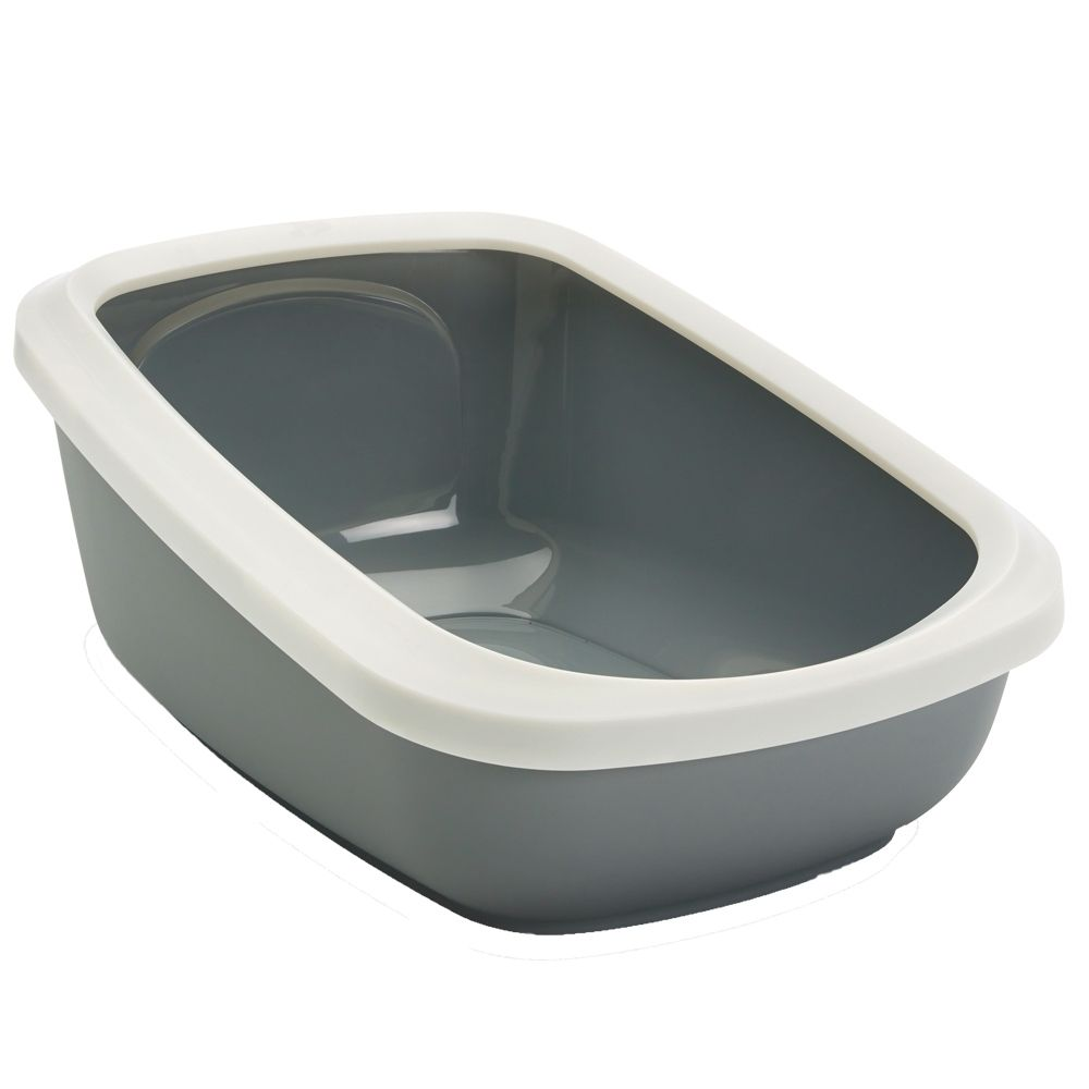 Savic Aseo Jumbo Cat Litter Tray w/ High Edge Grey&White