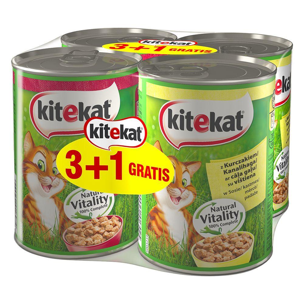 3 + 1 på köpet! 4 x 400 g Kitekat våtfoder - 2 x Kyckling, 2 x Nötkött