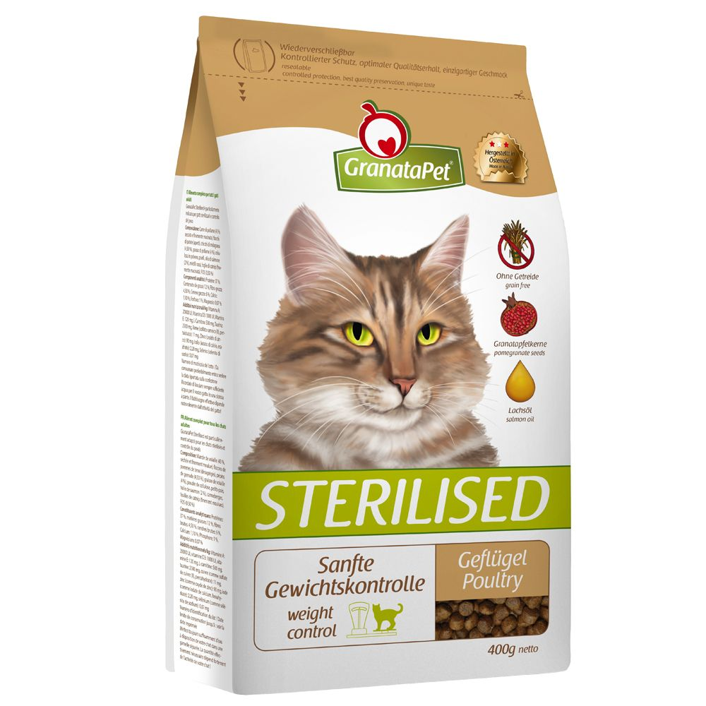 GranataPet Sterilised Poultry Dry Cat Food - Economy Pack: 2 x 4kg