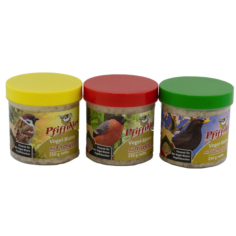 Pfiffikus Bistro Bird Food - Set of 3 Pots