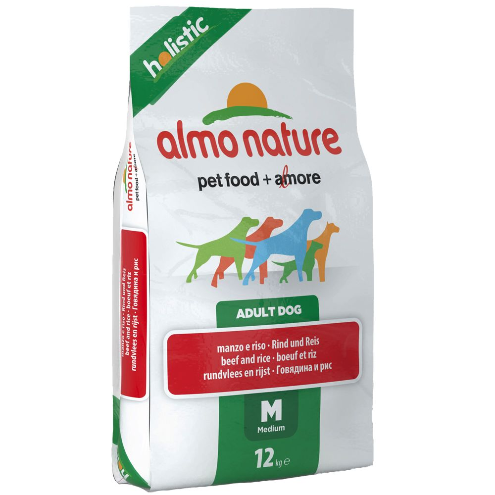 Almo Nature Holistic Dog Food – Medium Adult Beef & Rice - Economy Pack: 2 x 12kg