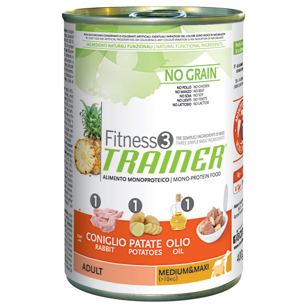 Foto Trainer Fitness 3 Adult Medium/Maxi No Grain Coniglio&Patate - 12 x 400 g - prezzo top! Fitness 3 in lattina