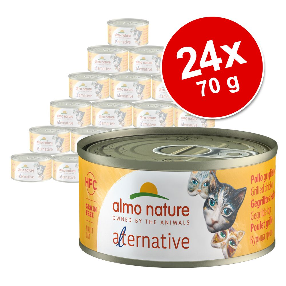 Ekonomipack: Almo Nature HFC Alternative Cat 24 x 70 g - Skinka & kalkon