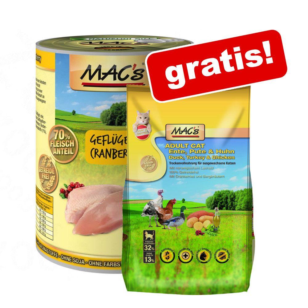 12 x 400 g MAC´s Cat + 300 g Trockenfutter grat...