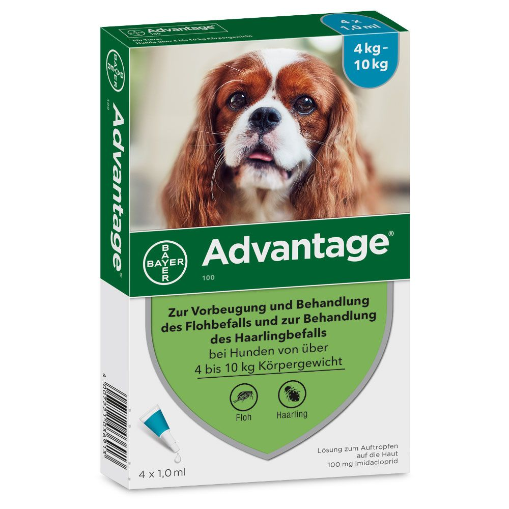 Advantage® 100 für Hunde - 100: 4-10 kg (4 Pipetten x 1,0 ml)