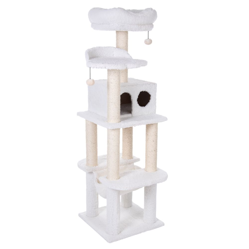 Wool White Fluffy Cat Tree II