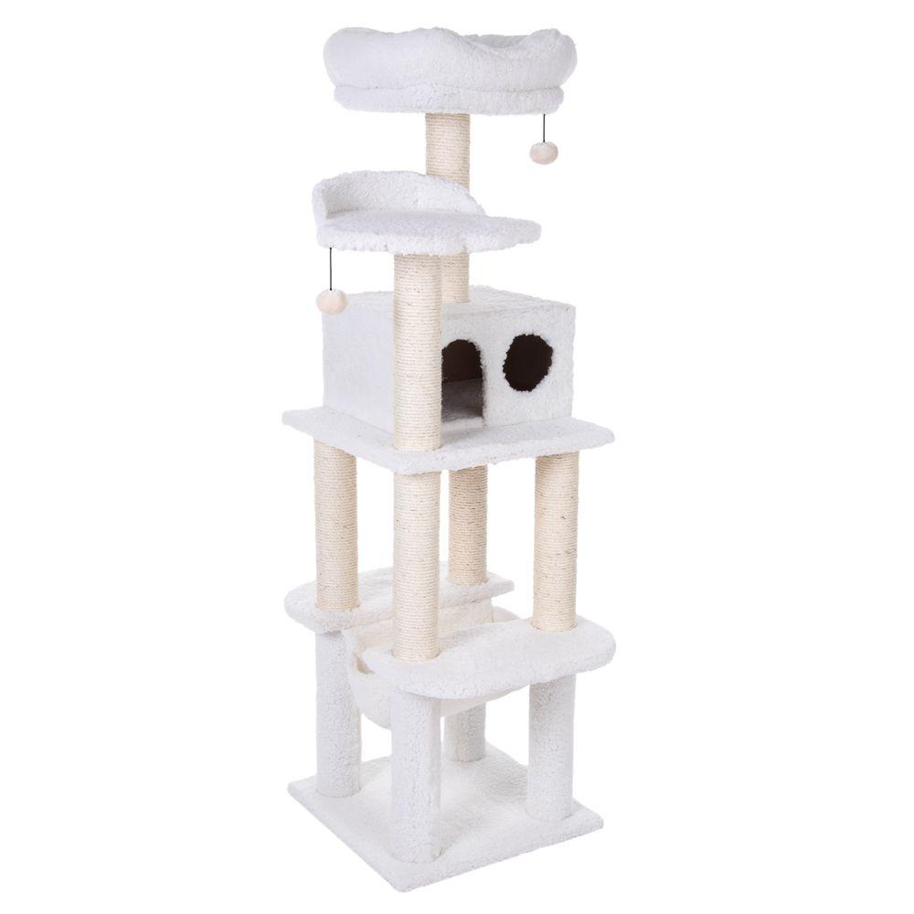 Wool White Fluffy Cat Tree II