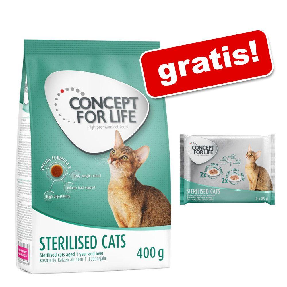 Concept for Life, 400 g + karma mokra Concept for Life, 4 x 85 g gratis! - Sterilised Cats