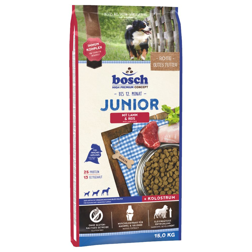 Bosch Junior Lamb & Rice Dry Dog Food is the perfect gluten-free diet for puppies with nutritional sensitivities. Such allergies and intolerances can appear ev...