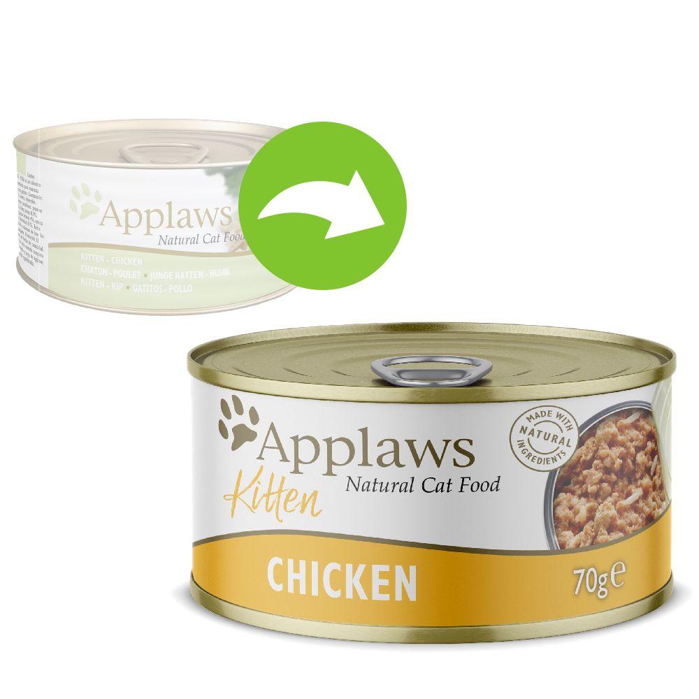 Blandpack: Applaws Kitten kattmat - 6 x 70 g Sardiner, kyckling, tonfisk